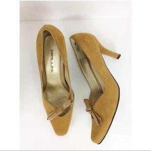 Bellini mustard suede heels